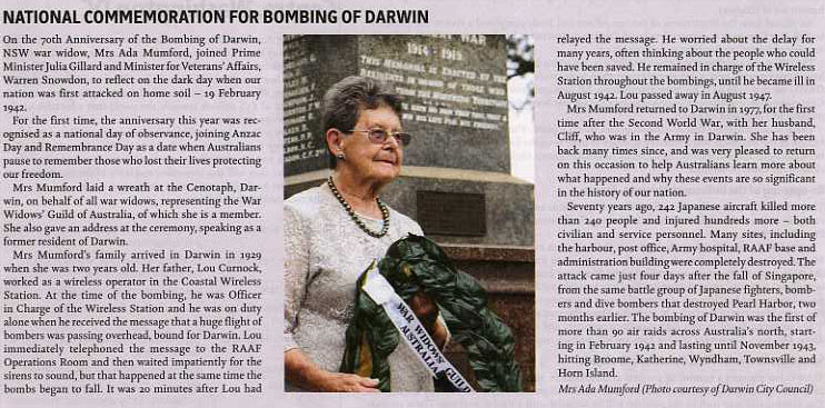 Bombing of Darwin 70th Anniversary