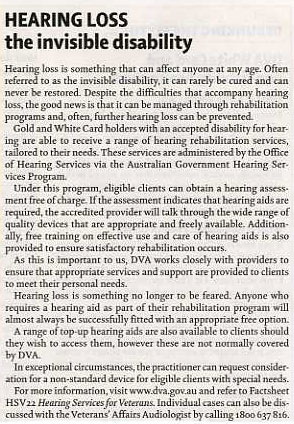 Hearing Loss Vet Affairs Autumn 2012