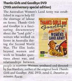 Australian Women's Land Army DVD