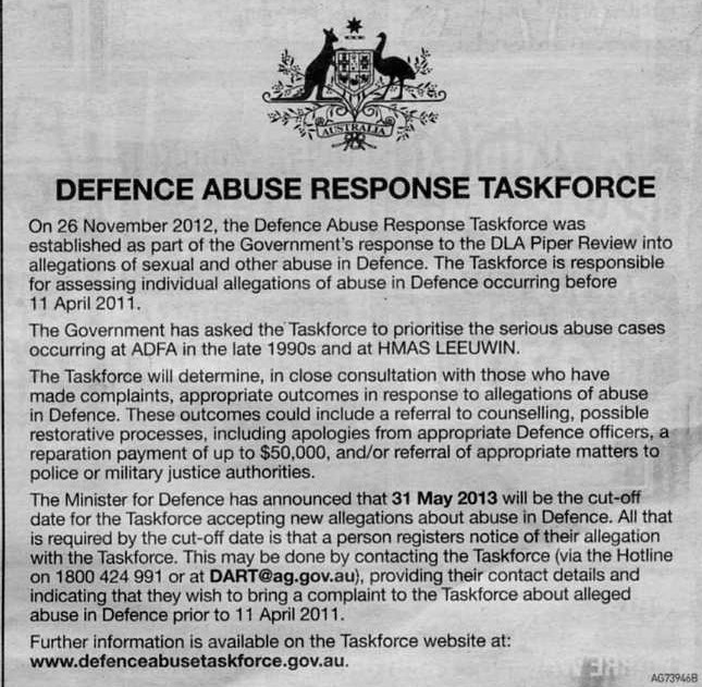 Defence Abuse Response Taskforce Advert 20th April 2013