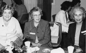 From left: Pearl Cox, Doris Carter (first Director of WRAAF), Lois Pitman (took over from Doris Carter as Director of WRAAF)